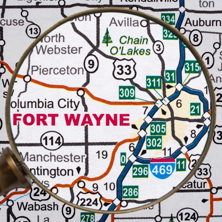 Fort Wayne IN on a map.
