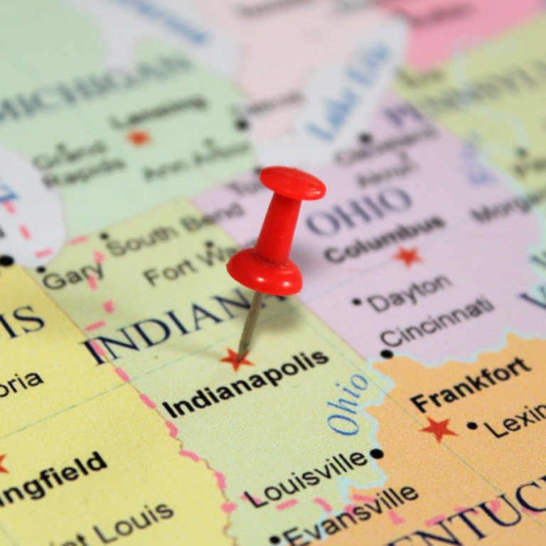 Indianapolis IN on a map.